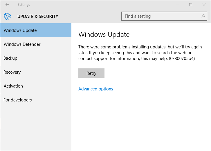 fjerne Windows 10 opdatering fejl 0x800705b4