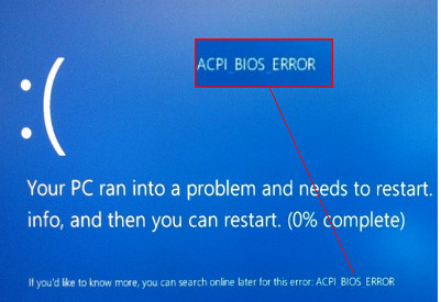 Slet von ACPI_BIOS_ERROR i Windows 10