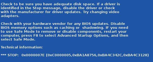 0x0000007E fejl i Windows 7