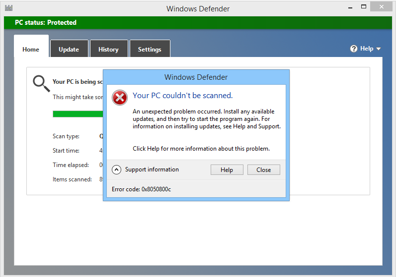 fjern Windows Defender Error Code 0x8050800c