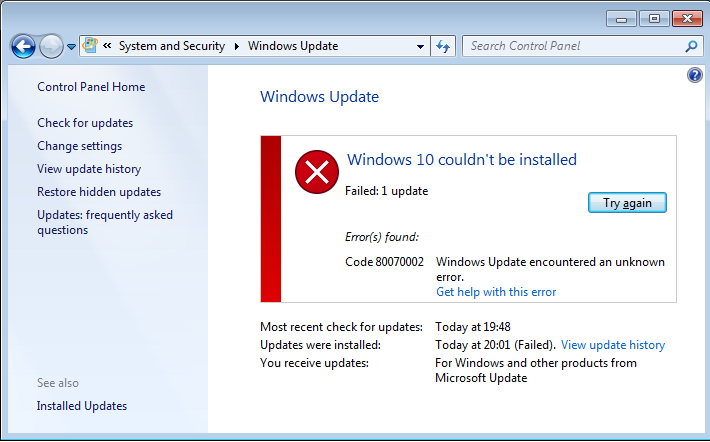 løse Windows 10 system 0x800703F1 fejl