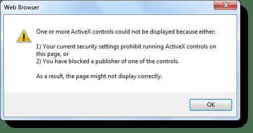 """fjern """"Dine nuværende sikkerhedsindstillinger forbyder kørende ActiveX"""","""