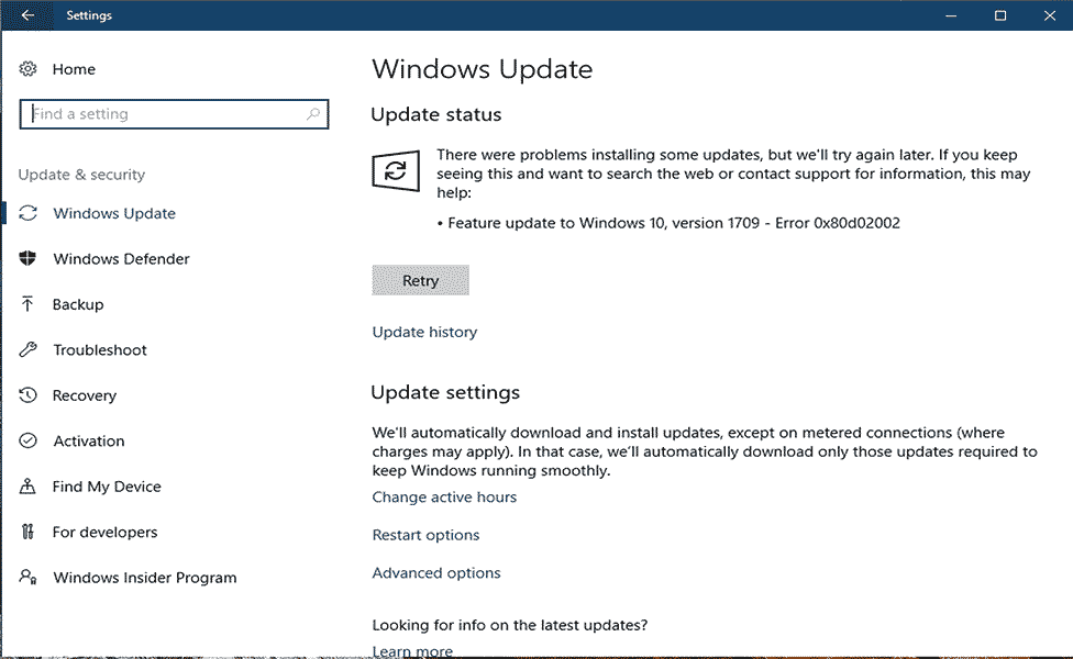fjern Windows Update Error 0x80d02002