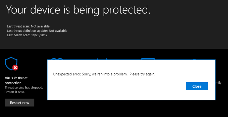 reparer Windows 10 Defender