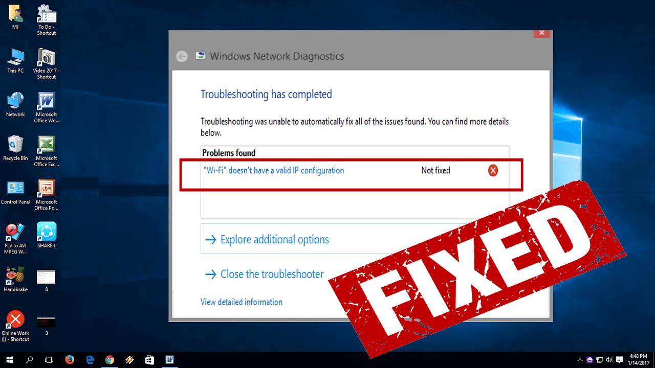 [Arbejdsrettelser] WiFi har ikke en gyldig IP